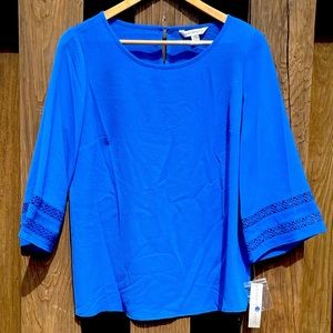 Counterparts bright blue blouse with bell sleeves